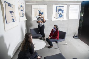 This cozy nook in the Health Sciences Education Building on the Phoenix Biomedical Campus doubles as an art exhibitions space.