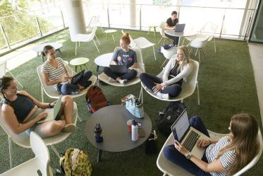 This second-floor balcony in the Health Sciences Education Building on the Phoenix Biomedical Campus offers artificial grass, shade and chairs big enough to sit cross-legged for those wanting a change of scenery.