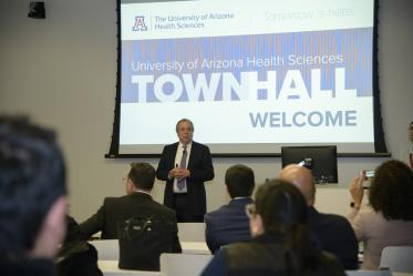 Senior Vice President for Health Sciences Michael D. Dake, MD, held a town hall at the Phoenix Biomedical Campus Jan. 29 to share updates on the Health Sciences strategic initiatives. He announced new opportunities for faculty and students, including a new center, fellowship opportunities and new Phoenix programming.