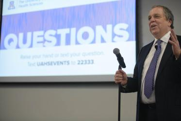 Senior Vice President for Health Sciences Michael D. Dake, MD, answered questions from the audience during a town hall event in Phoenix.