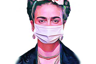 """This poster plays on the art and persona of Frida Kahlo in urging people to wear masks on their faces. """"I was talking with one of my classmates about still seeing a lot of non-compliant or no social distancing in grocery stores and Walmart's and things like that,"""" said Cazandra Zaragoza, MPH, a fourth-year medical student at the College of Medicine – Tucson, who helped make and distribute the posters."""