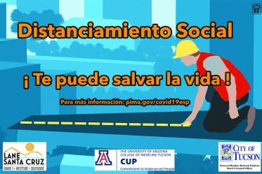 This social distancing poster is one of a dozen designed by students in the College of Medicine – Tucson and then distributed throughout the community as an outreach and public health messaging campaign.
