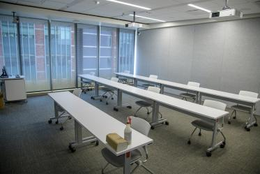 Classrooms now have fewer chairs to help students maintain physical distance of six feet.