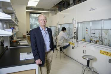 College of Pharmacy Dean Rick Schnellmann, PhD, stands in new chemistry laboratory in the Skaggs building.