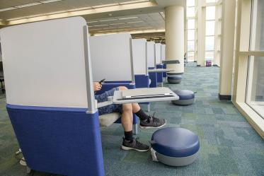 While there is only one pea in this pod, there are several pods available on the third floor of the Health Sciences Library on the Tucson campus, where a comfortable seat, desktop and footstool make for a semi-private space to study, or just catch up on social media.