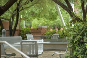This beautiful tree-covered courtyard sits just east of BIO5 and south of Drachman Hall on the Tucson campus. It's a favorite for outside lunches or meetings, with its tables, chairs and shade.