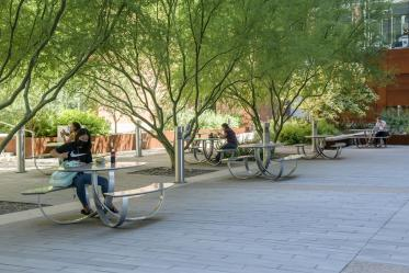 The courtyard between BIO5 and the Bioscience Research Laboratories on the Tucson campus is a favorite place for many people to stop and enjoy food and drink after visiting the nearby Catalyst Café.