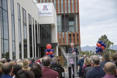 College of Pharmacy Dean Rick Schnellmann, PhD, speaks at the grand opening and ribbon cutting of the expanded and renovated Skaggs Center.