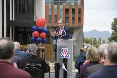 University of Arizona Senior Vice President for Health Sciences, Michael D. Dake, MD, speaks about the future of drug discovery with the opening of new Skaggs chemistry and biology laboratories.