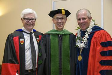 Dr. Slepian was inducted Jan. 13 as a Regents' Professor. Pictured at the event with sociology professor Albert J. Bergesen, PhD (left), and University of Arizona President Robert C. Robbins, MD (right).