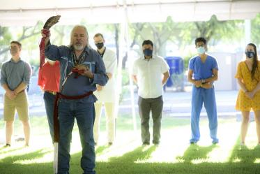 Dr. Carlos Gonzales performs the Blessing of the Seven Sacred Directions during the annual College of Medicine – Tucson Tree Blessing Ceremony.