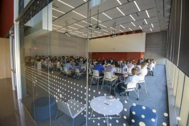Large classrooms complement smaller spaces on floors three through six.