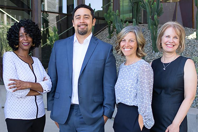 Members of the College of Medicine – Phoenix Office of Equity, Diversity and Inclusion team (from left): Sonji Muhammad, MA, director; Francisco Lucio, JD, associate dean; Cammy Bellis, MEd, education and training specialist; Julie Parrish, administrative associate