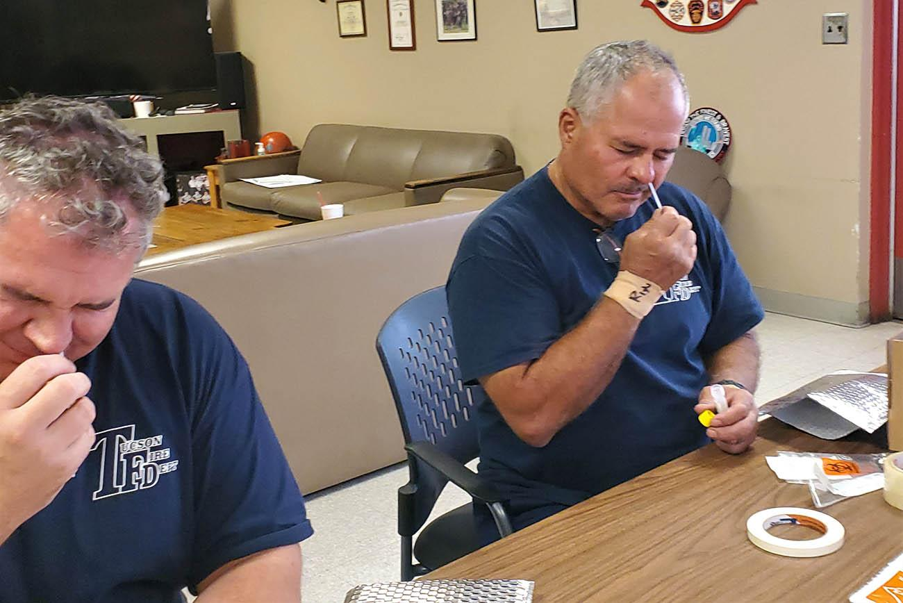 Tucson Fire Department firefighters are among the study participants who complete weekly nasal swabs to track SARS-CoV-2 infections. (Photo: Tucson Fire Department Safety)