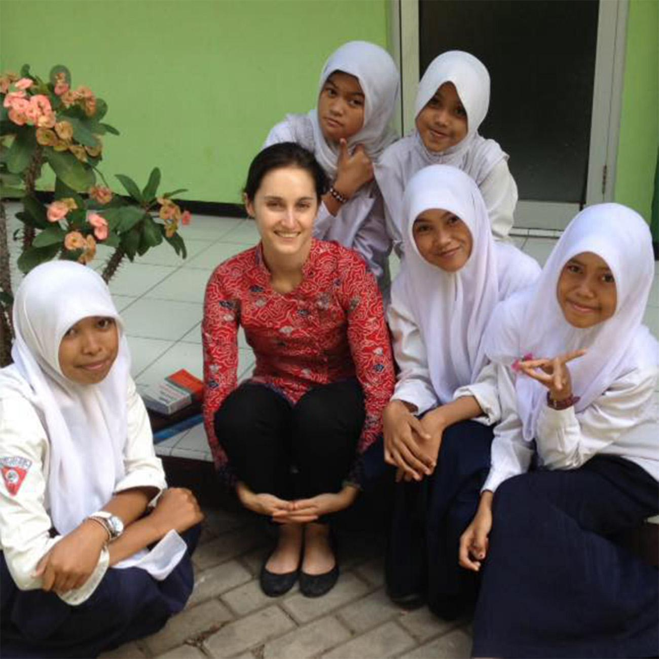 Liatti with her 10th grade students during her first year teaching in Indonesia as a Peace Corps volunteer