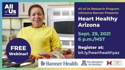 Heart Healthy Arizona webinar: September 29 at 6:00pm
