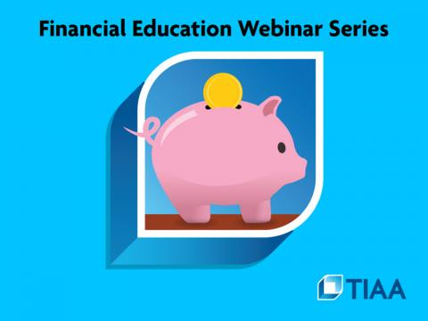 An illustration of a piggy bank inside the TIAA logo