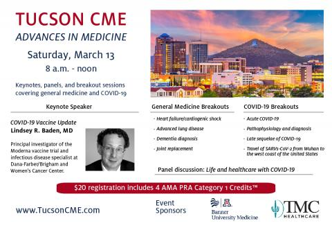 Promo of Tucson CME conference with session descriptions